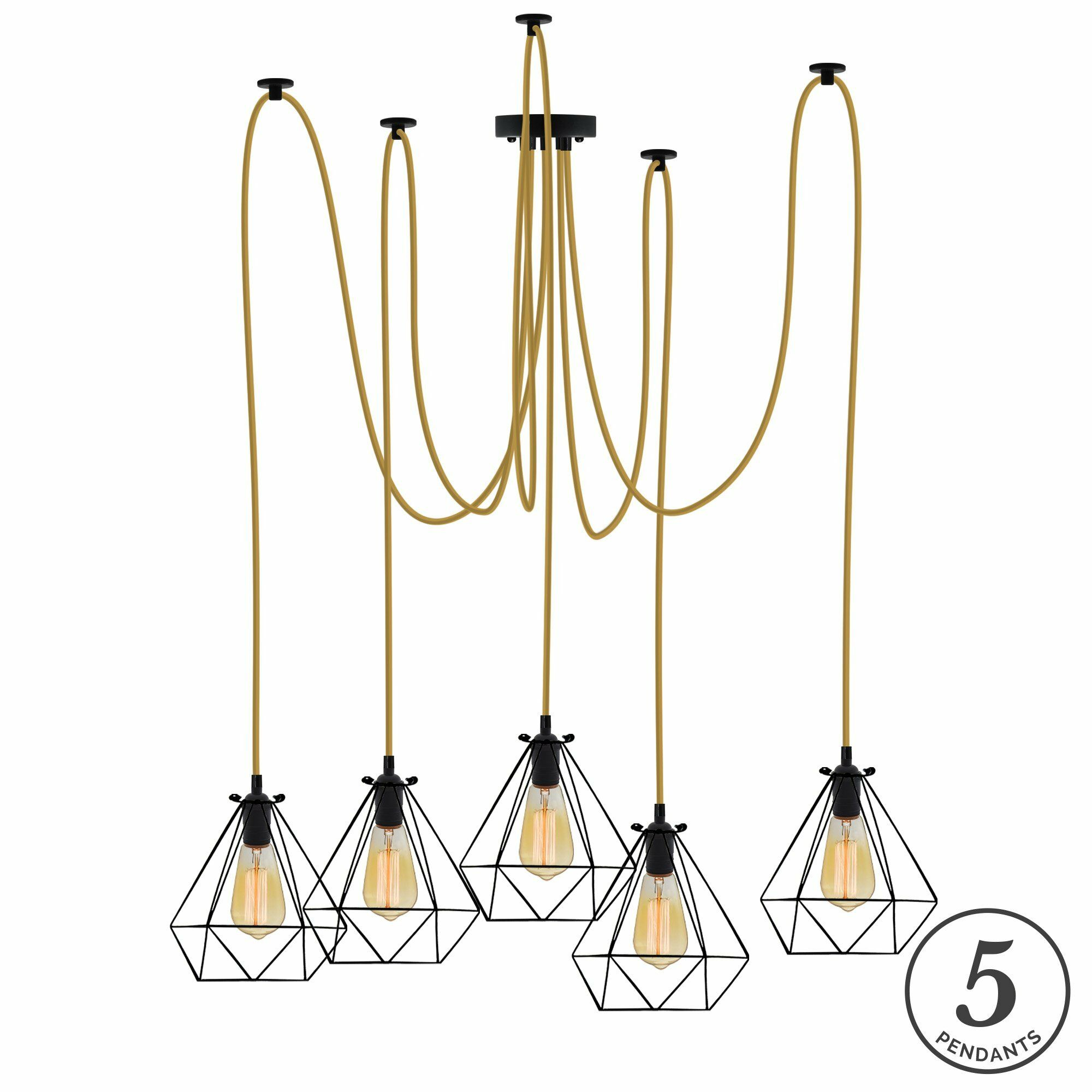 Esai 5-Light Cluster Pendant Shade Color: Black, Finish: Gold