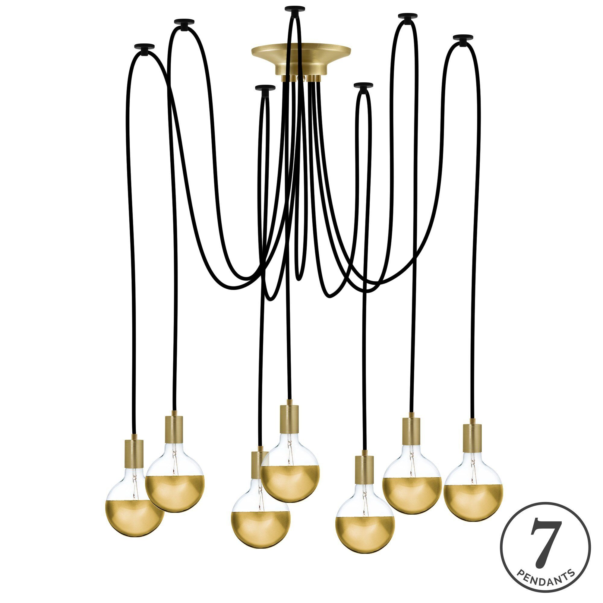 Esai 7-Light Cluster Pendant Finish: Black/Gold, Shade Color: Gold