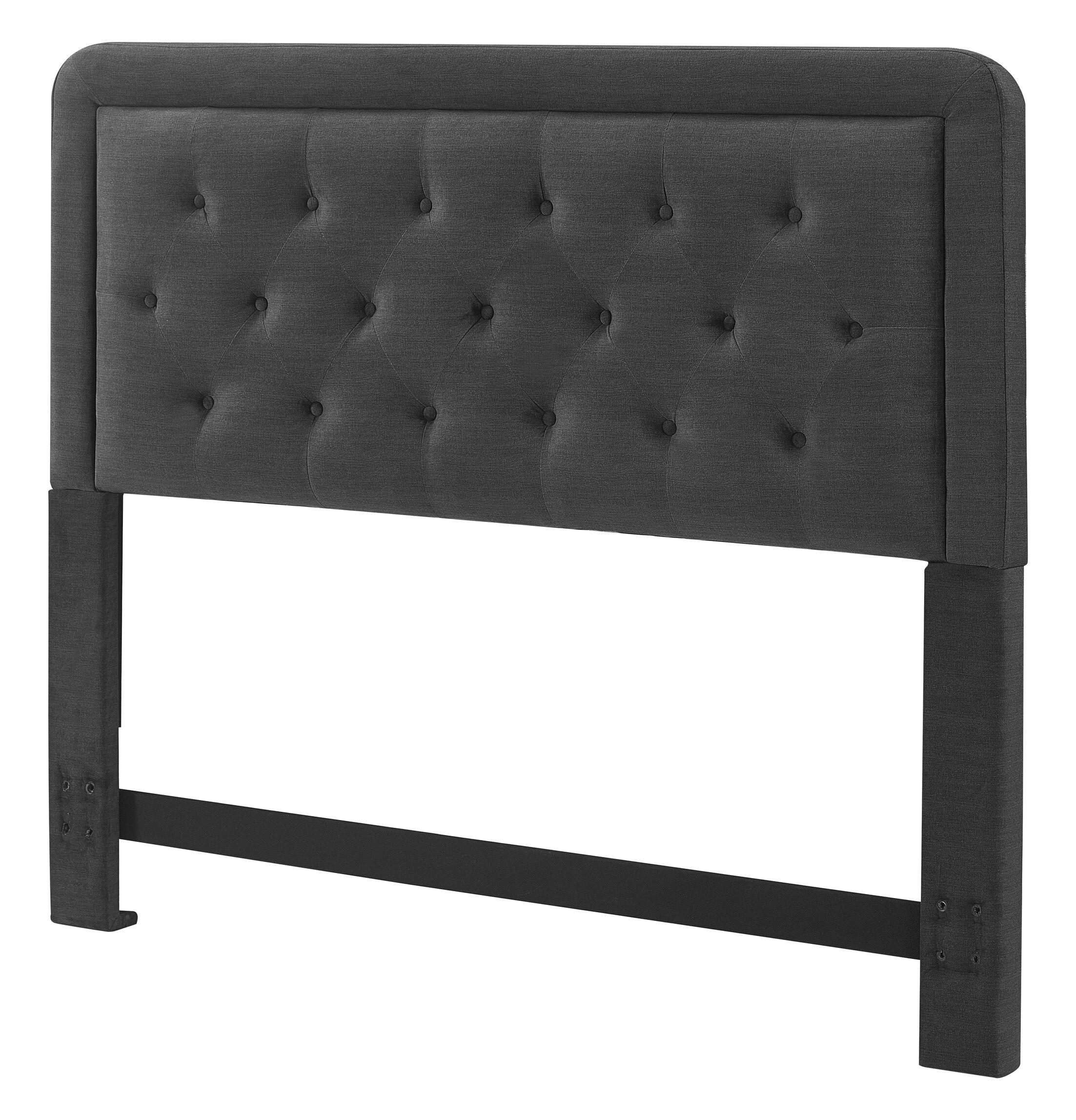Amery Upholstered Panel Headboard Upholstery: Charcoal Gray, Size: King