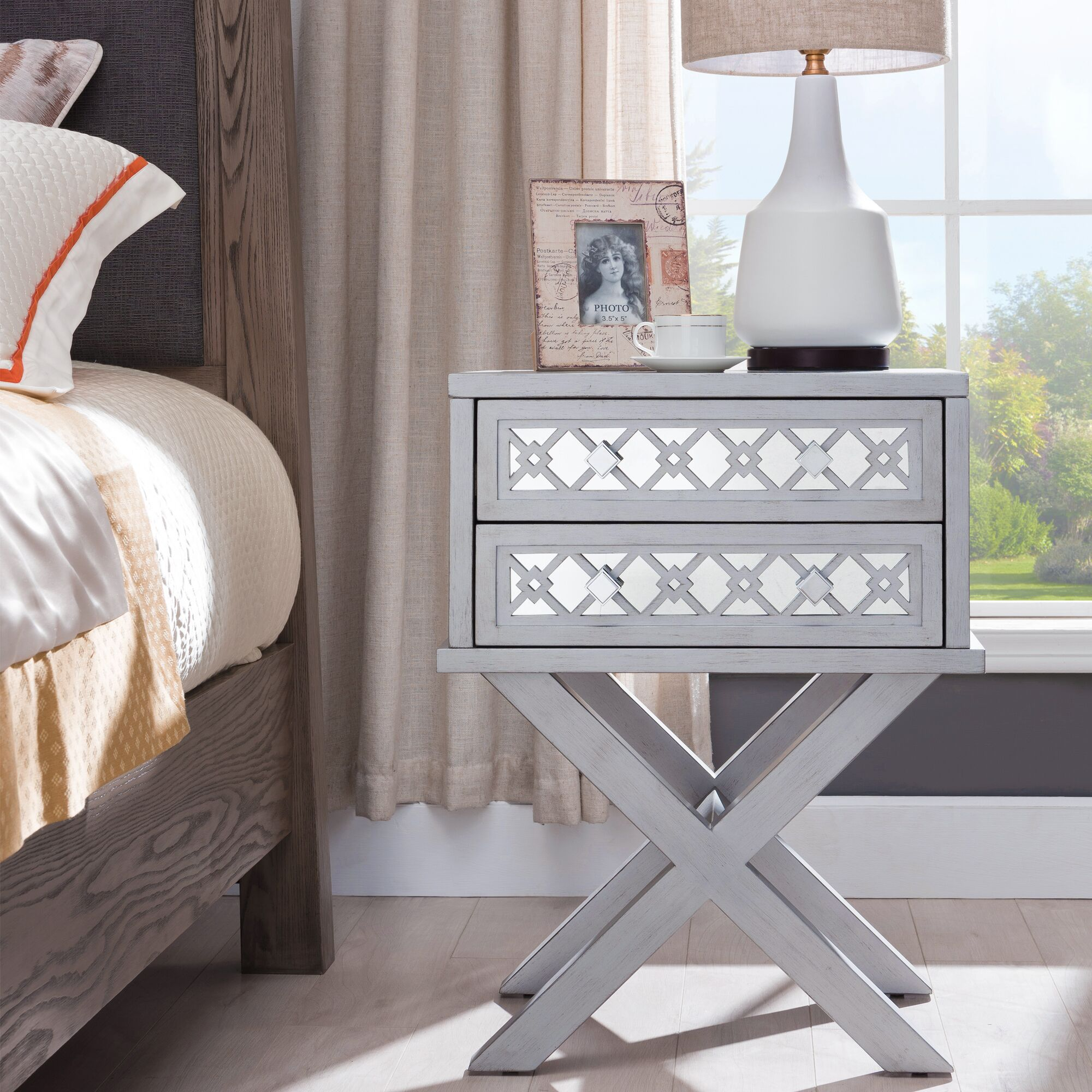 Dowell 2 Drawer Nightstand Color: Silver