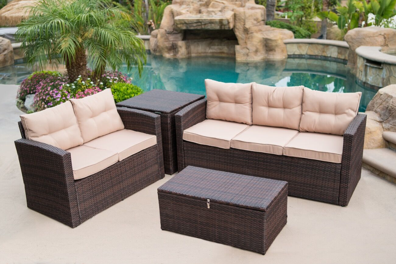 Rowley Patio Sofa Set with Cushions Finish: Brown