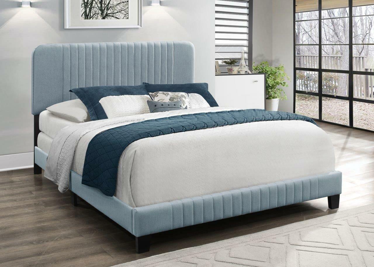 Ayla Upholstered Panel Bed Color: Light Blue, Size: Full