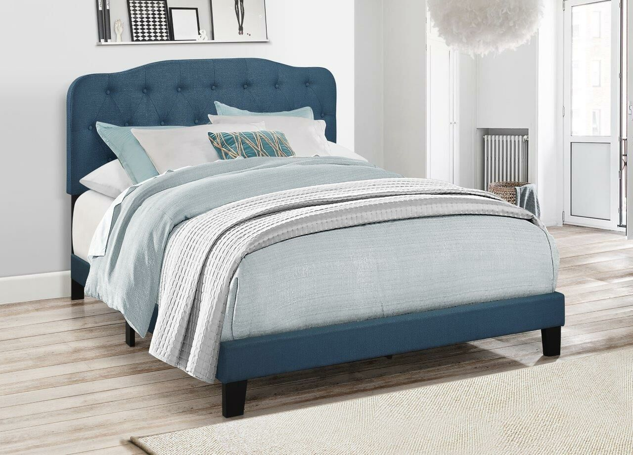 Keagan Upholstered Panel Bed Color: Blue, Size: Queen