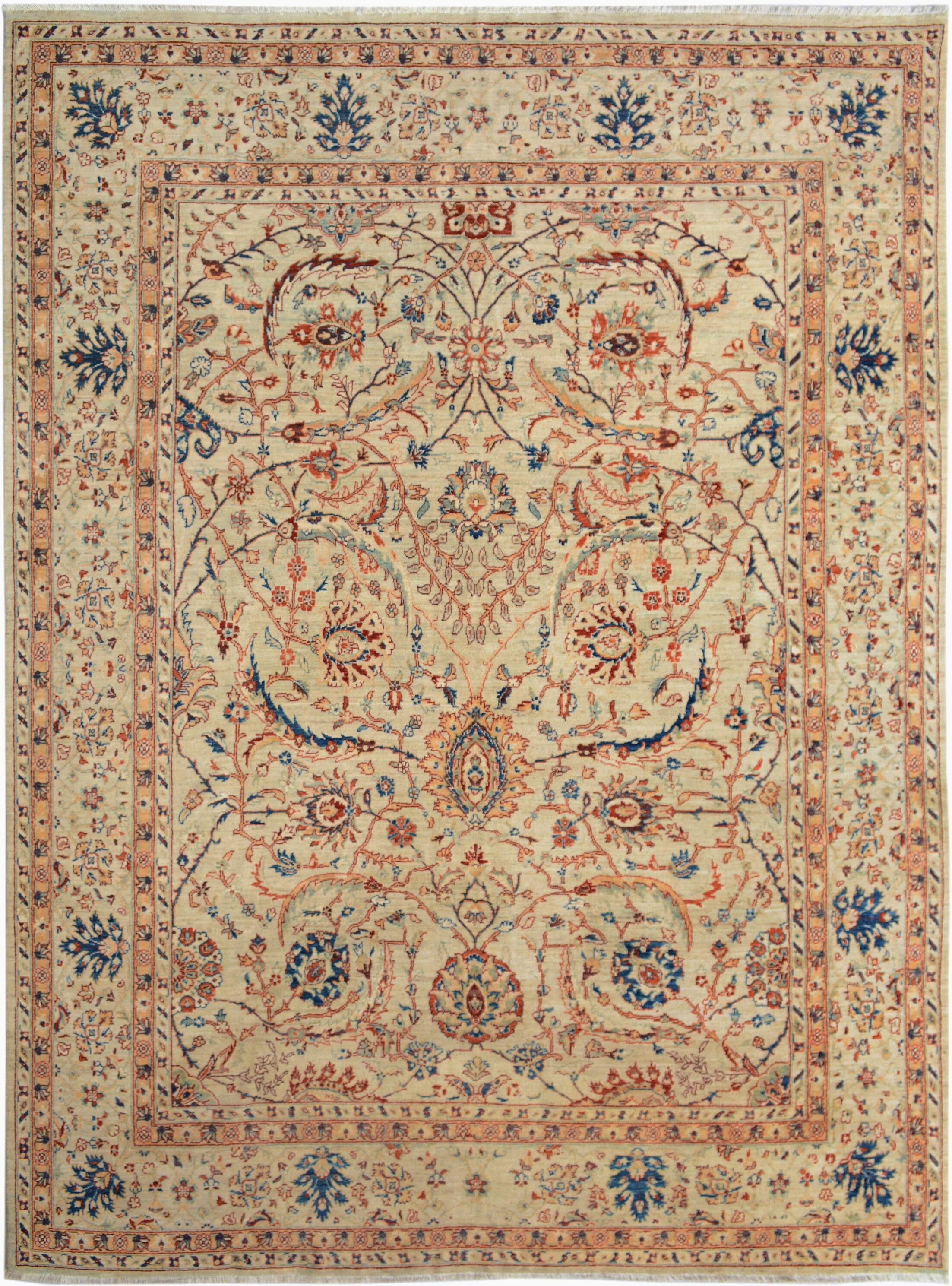One-of-a-Kind Bodrum Hand-Knotted Wool Tan/Blue Area Rug