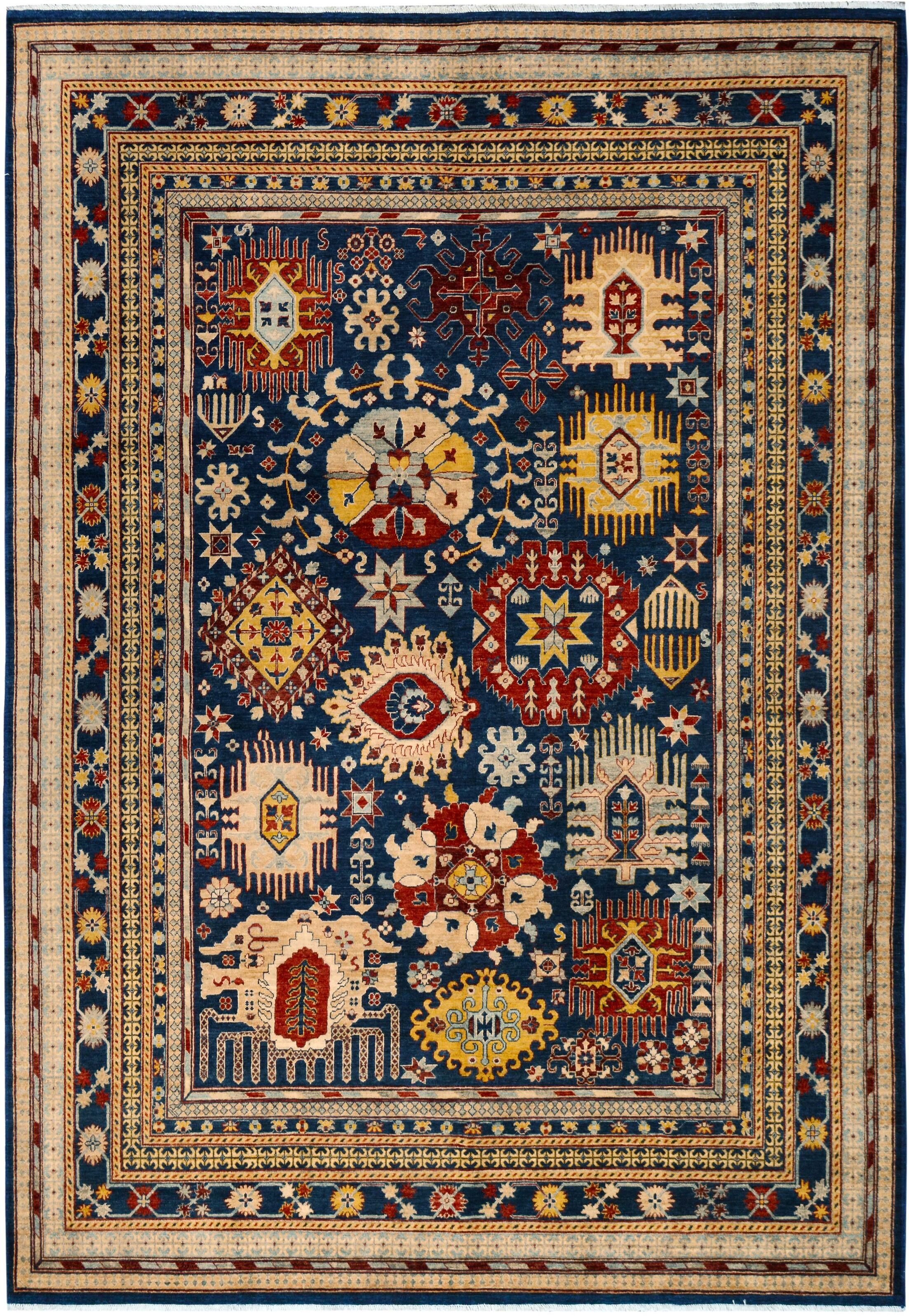 One-of-a-Kind Bodrum Hand-Knotted Wool Blue/Light Blue Area Rug