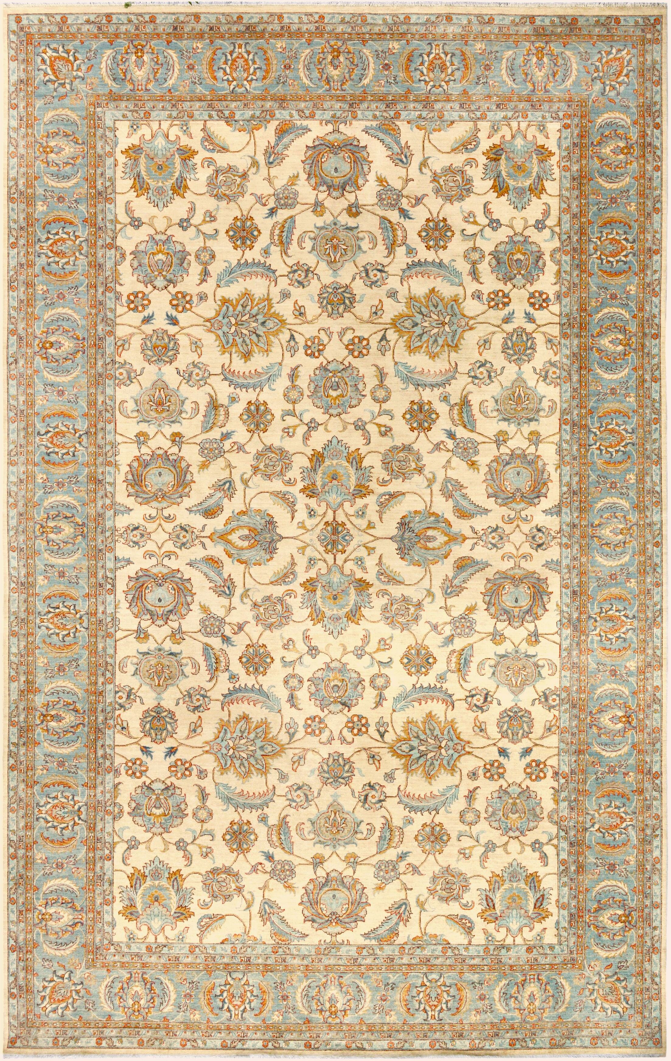 One-of-a-Kind Bodrum Hand-Knotted Wool Ivory/Light Blue Area Rug