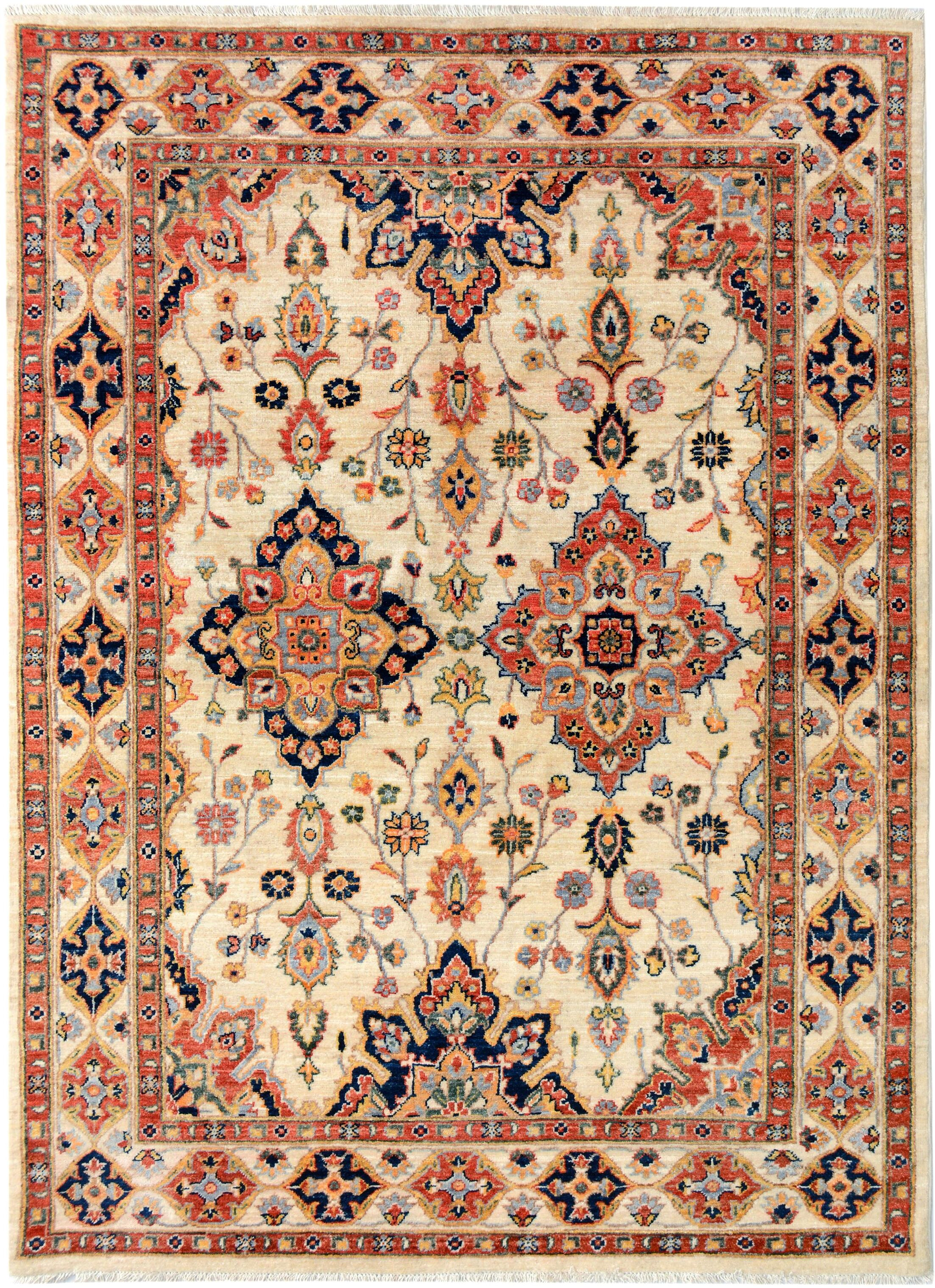 One-of-a-Kind Dorothy Hand-Knotted Wool Ivory/Blue Area Rug