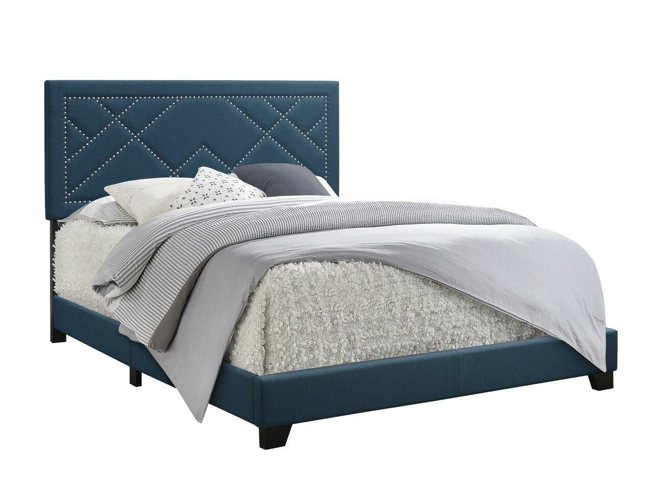 Grubb Upholstered Panel Bed Color: Blue, Size: Full