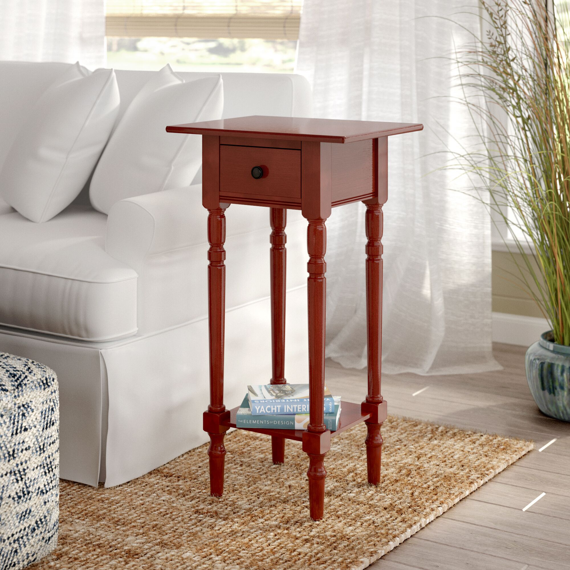 Amityville End Table With Storage Color: Red