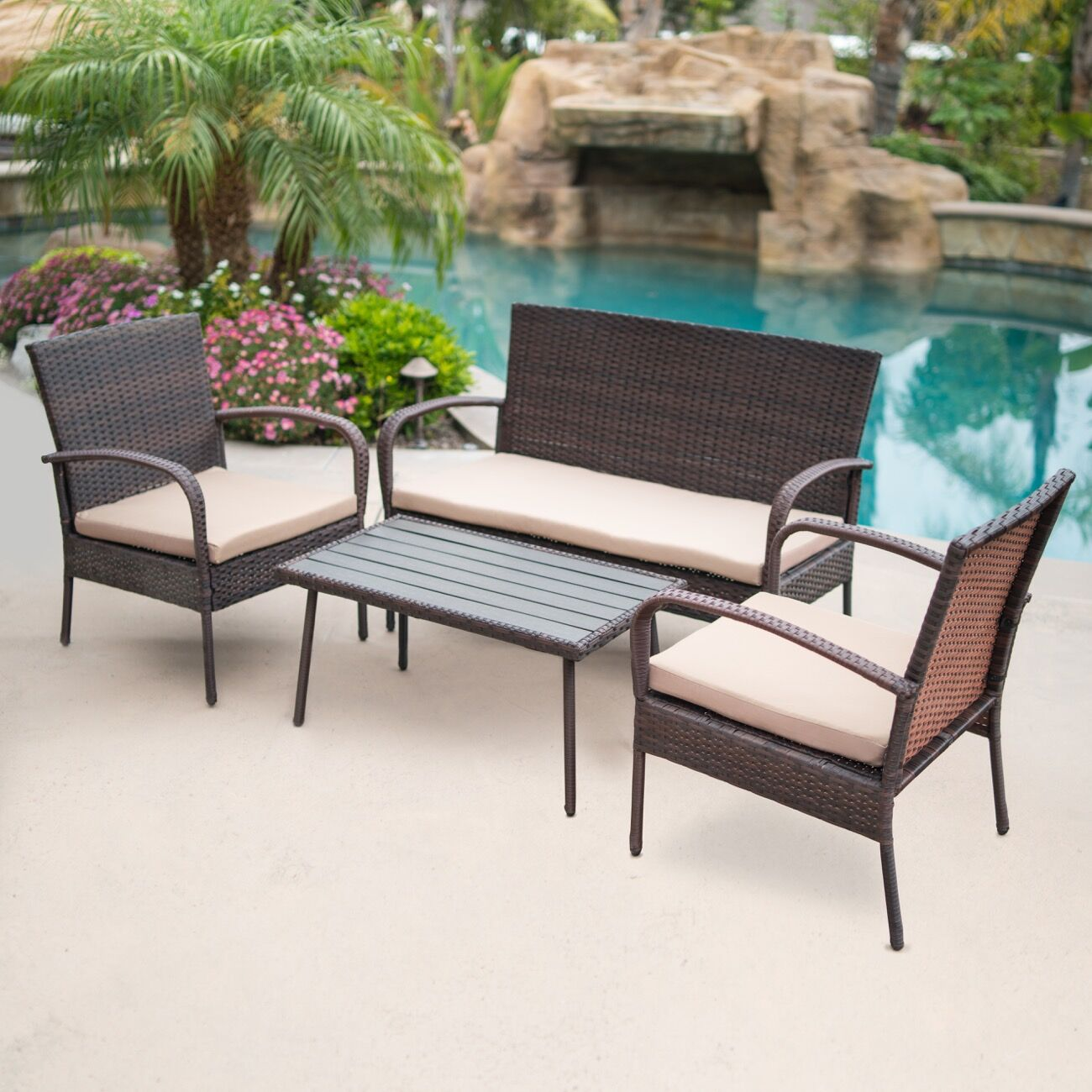 Reed 4 Piece Rattan Conversation Set with Cushions Cushion Color: Brown