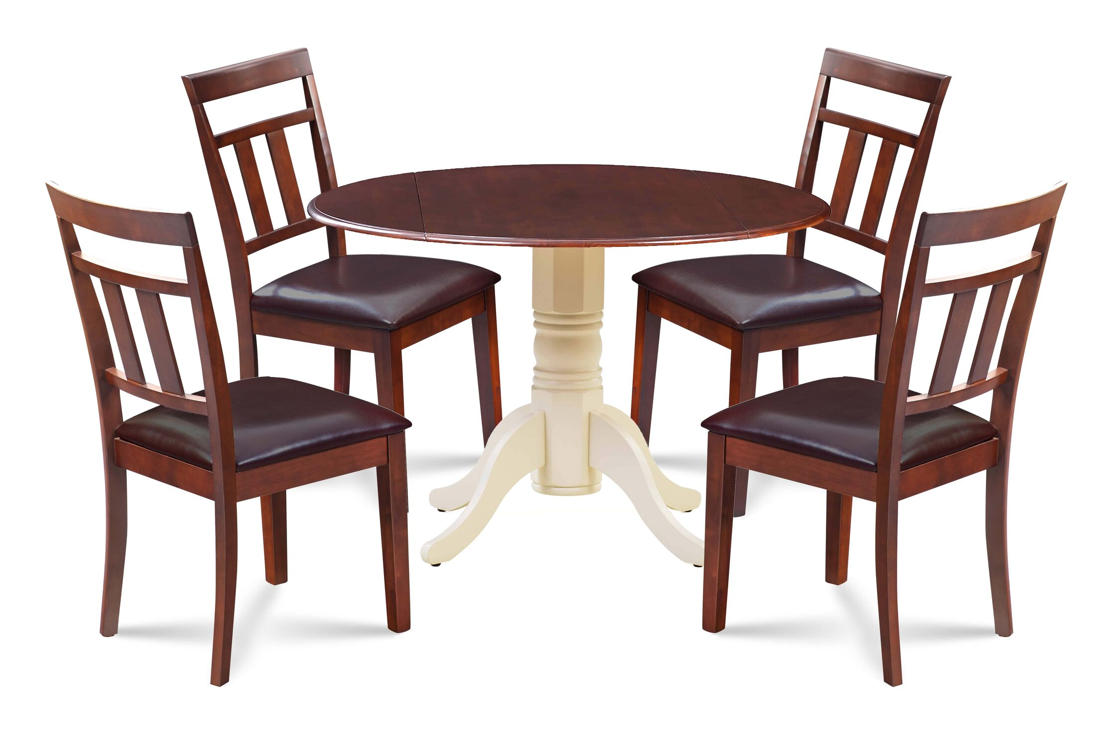 Chesterton 5 Piece Drop Leaf Solid Wood Dining Set Table Top Color: Mahogany