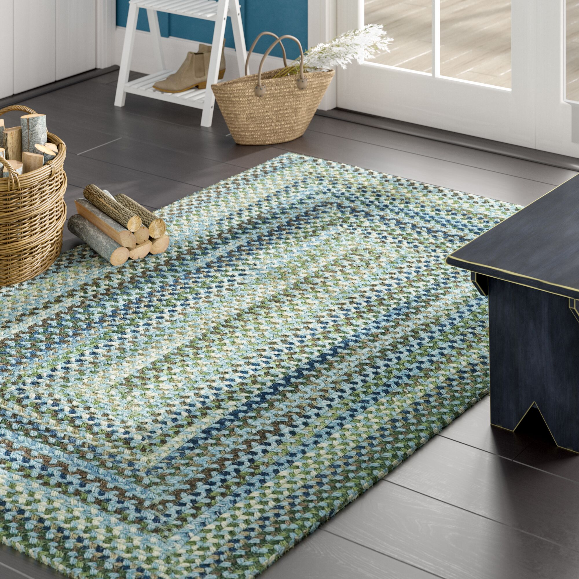 Holcombe Light Blue Area Rug Rug Size: Concentric Square 7'6