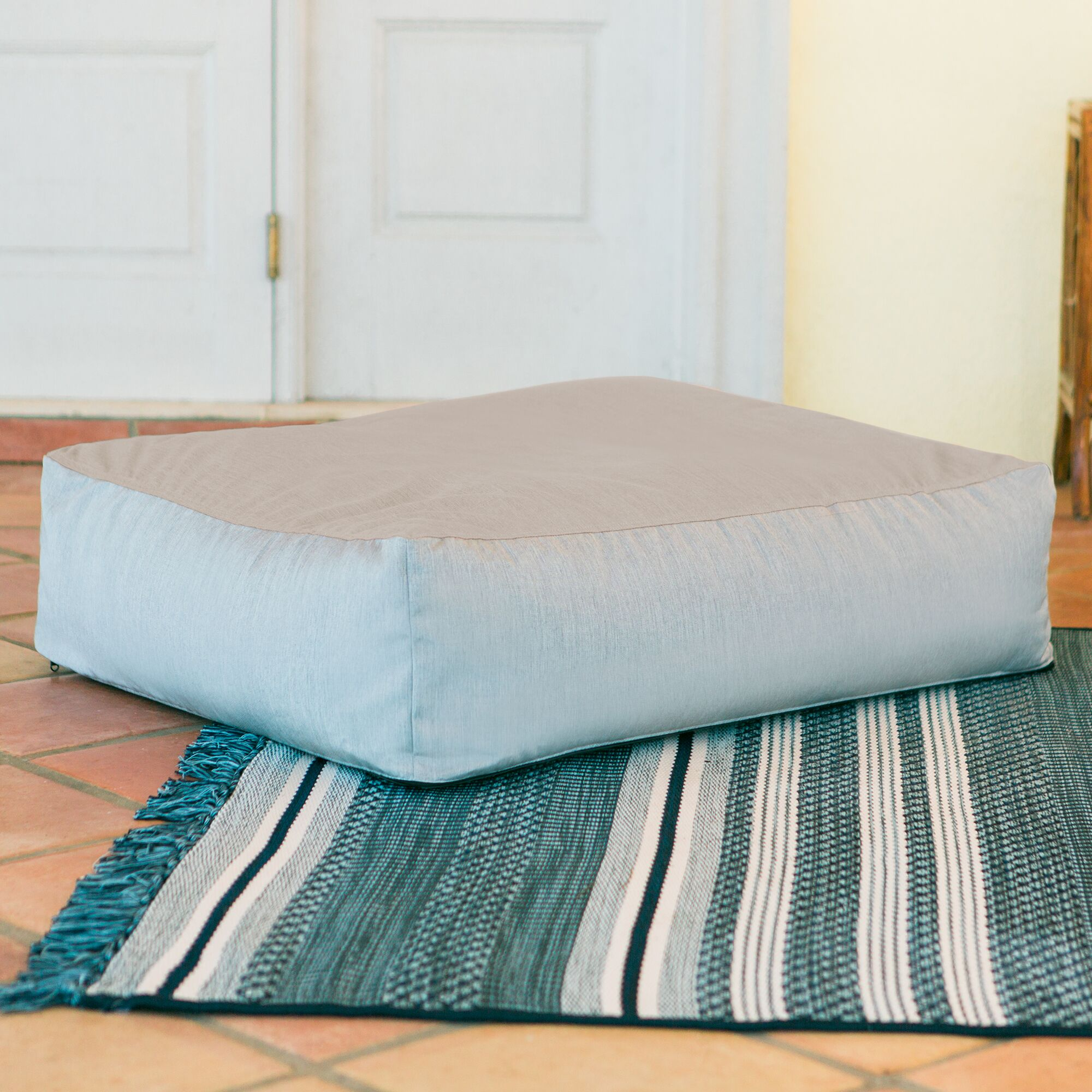 Alice Outdoor Bean Bag Ottoman with Sunbrella Cushion Fabric: Flax