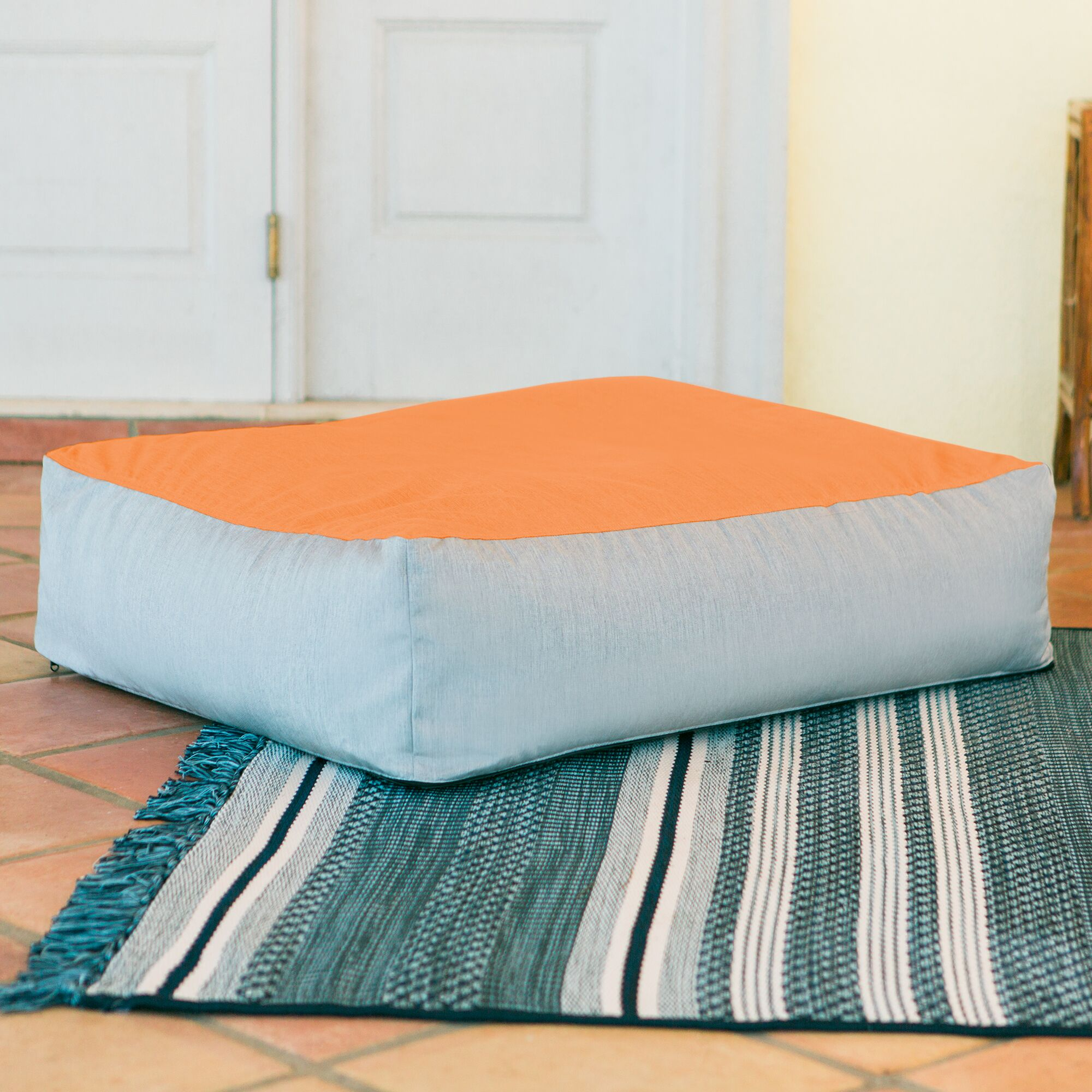 Alice Outdoor Bean Bag Ottoman with Sunbrella Cushion Fabric: Tangerine