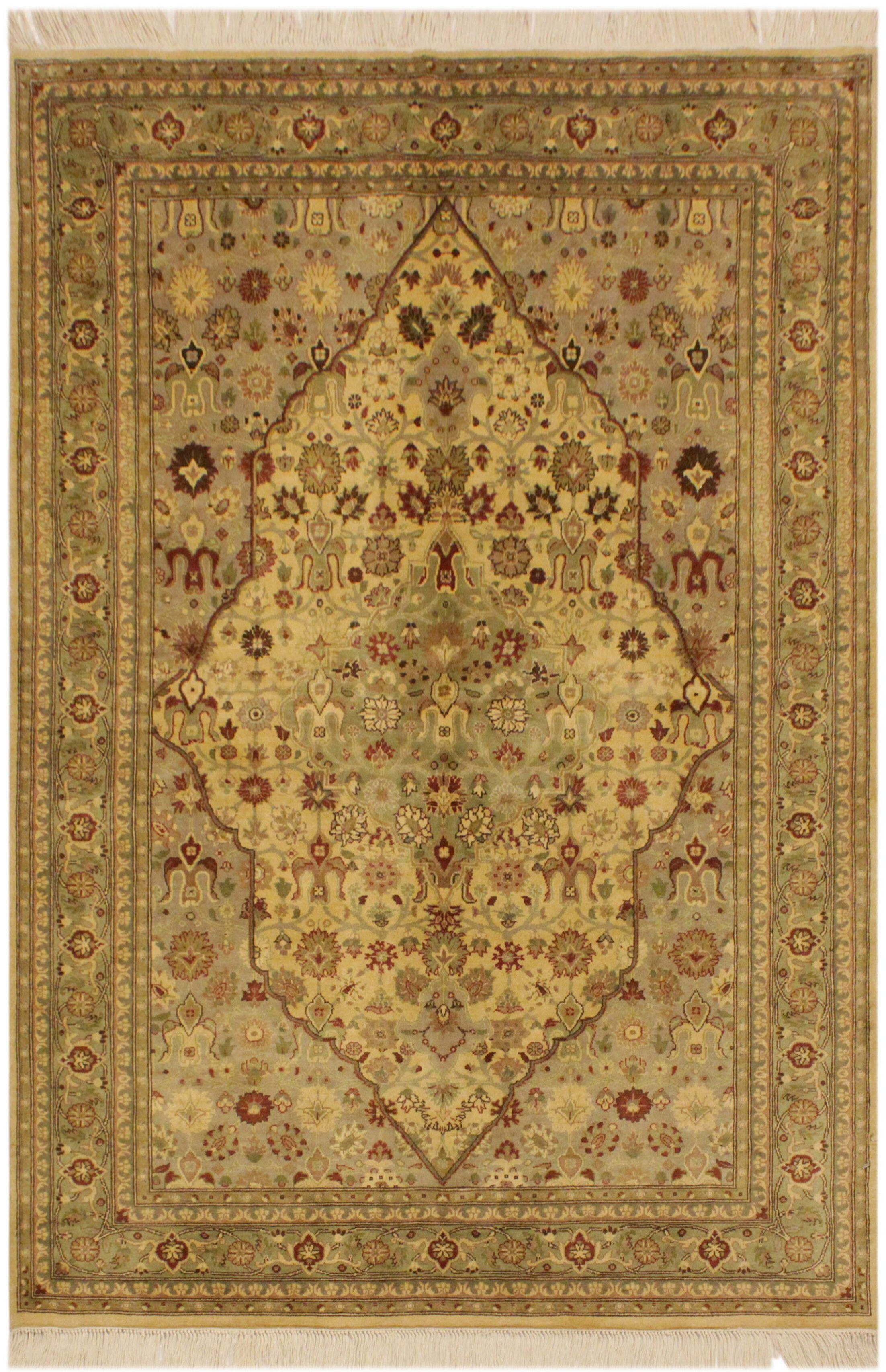 One-of-a-Kind Mcdavid Hand-Knotted Wool Ivory/Light Green Area Rug
