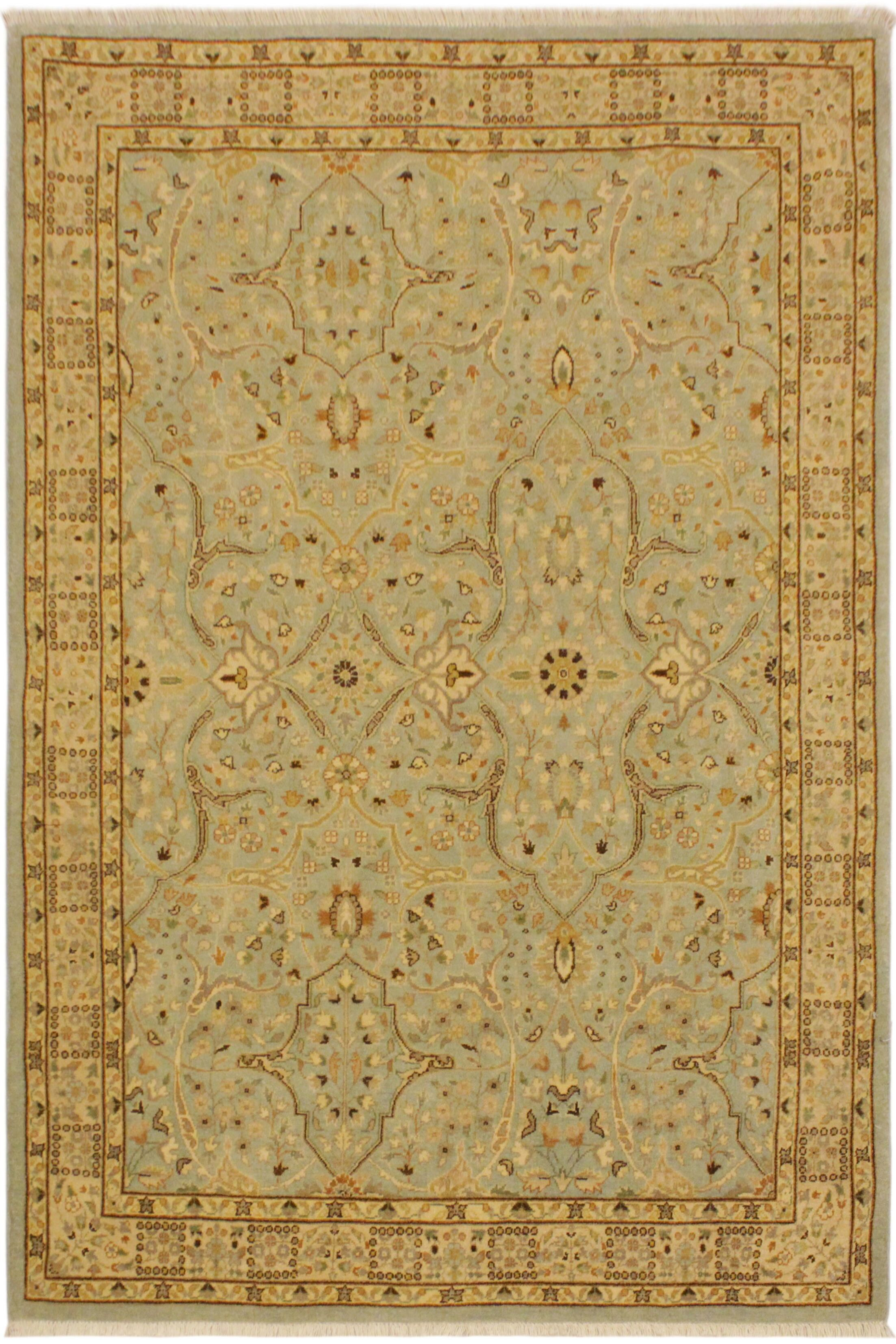 One-of-a-Kind Ernesto Turkish Hand-Knotted Wool Blue/Ivory Area Rug