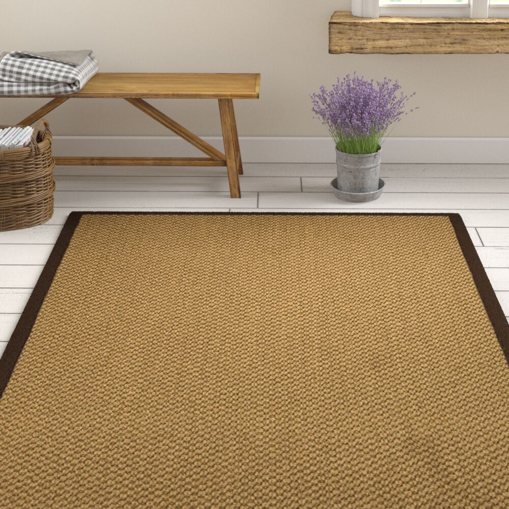 Loehr Hand Woven Fiber Sisal Brown/Fudge Area Rug with Rug Pad Rug Size: Rectangle 8' x 10'