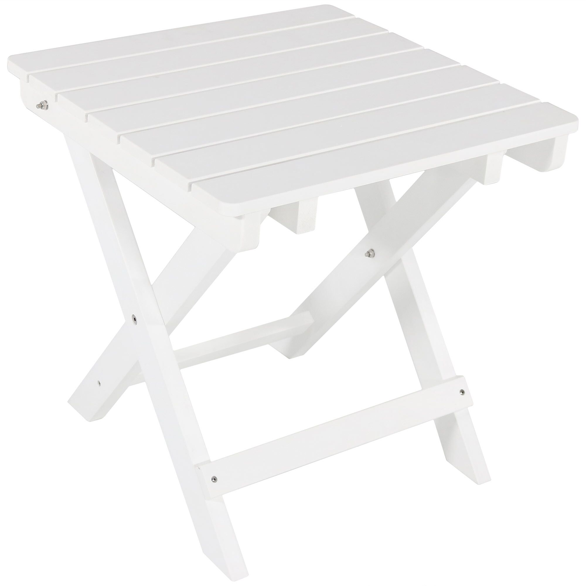 Mattias All-Weather Folding Plastic Side Table Color: White