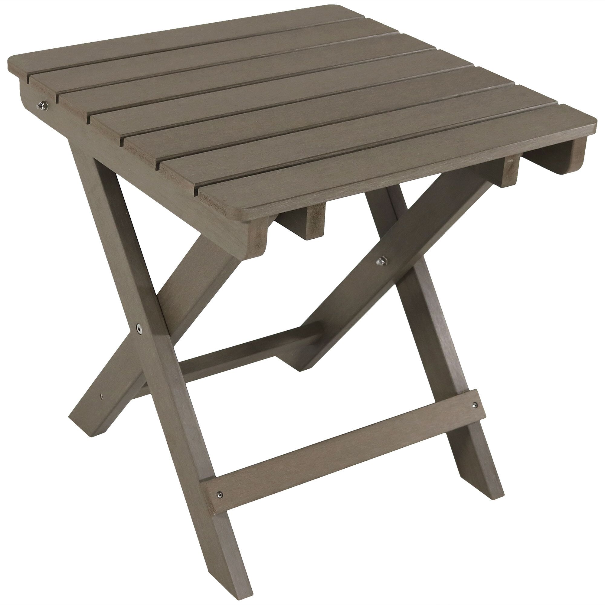 Mattias All-Weather Folding Plastic Side Table Color: Gray