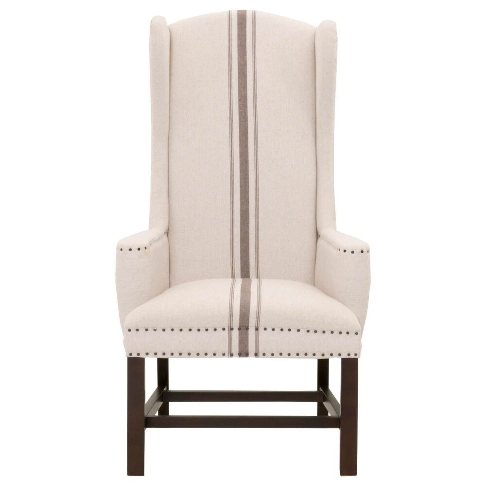 Brian Large Nail Tacks And Jute Upholstery Wingback Chair Upholstery: Beige/Gray