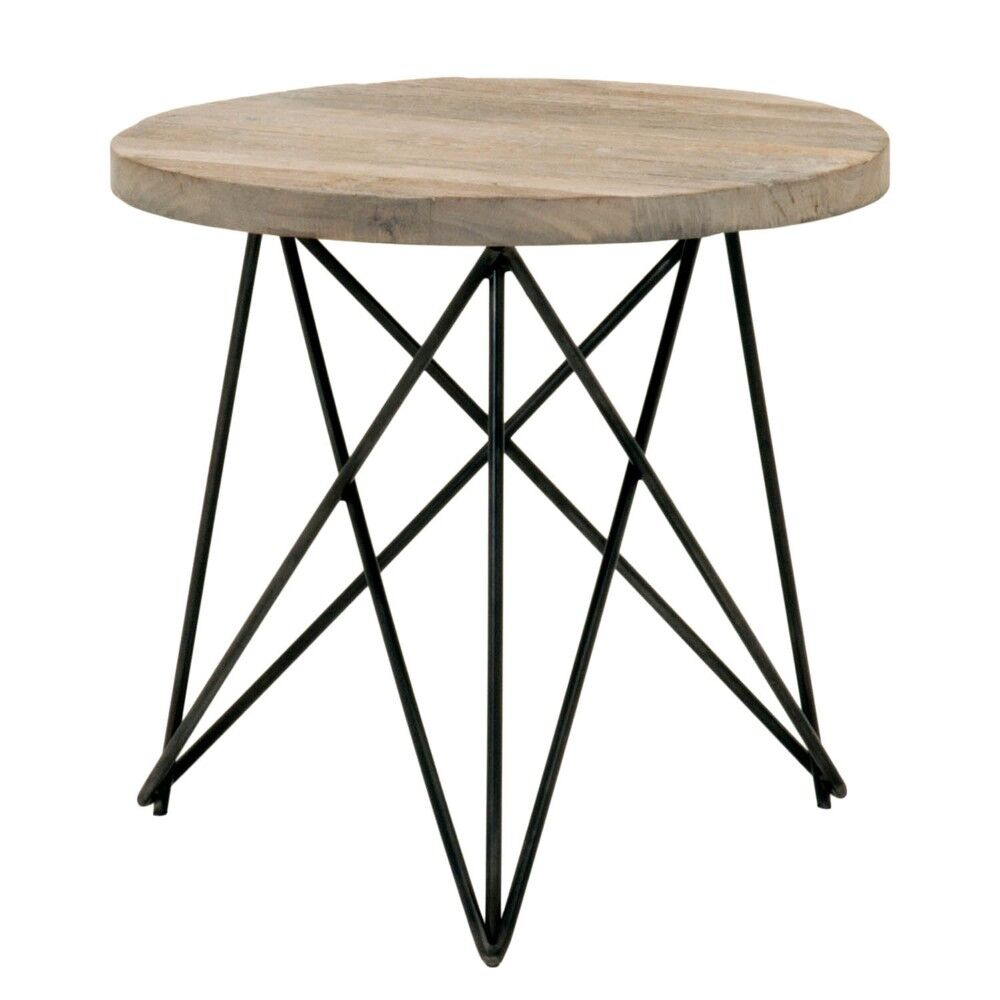 Olive Metal Base with Round Wooden Top End Table