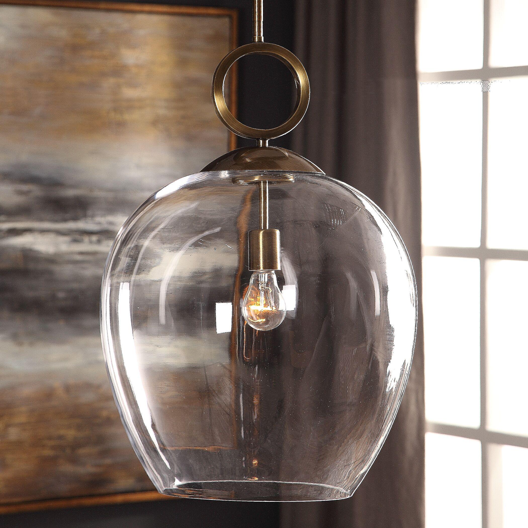 Entrada Large Blown Glass 1 -Light LED Bell Pendant