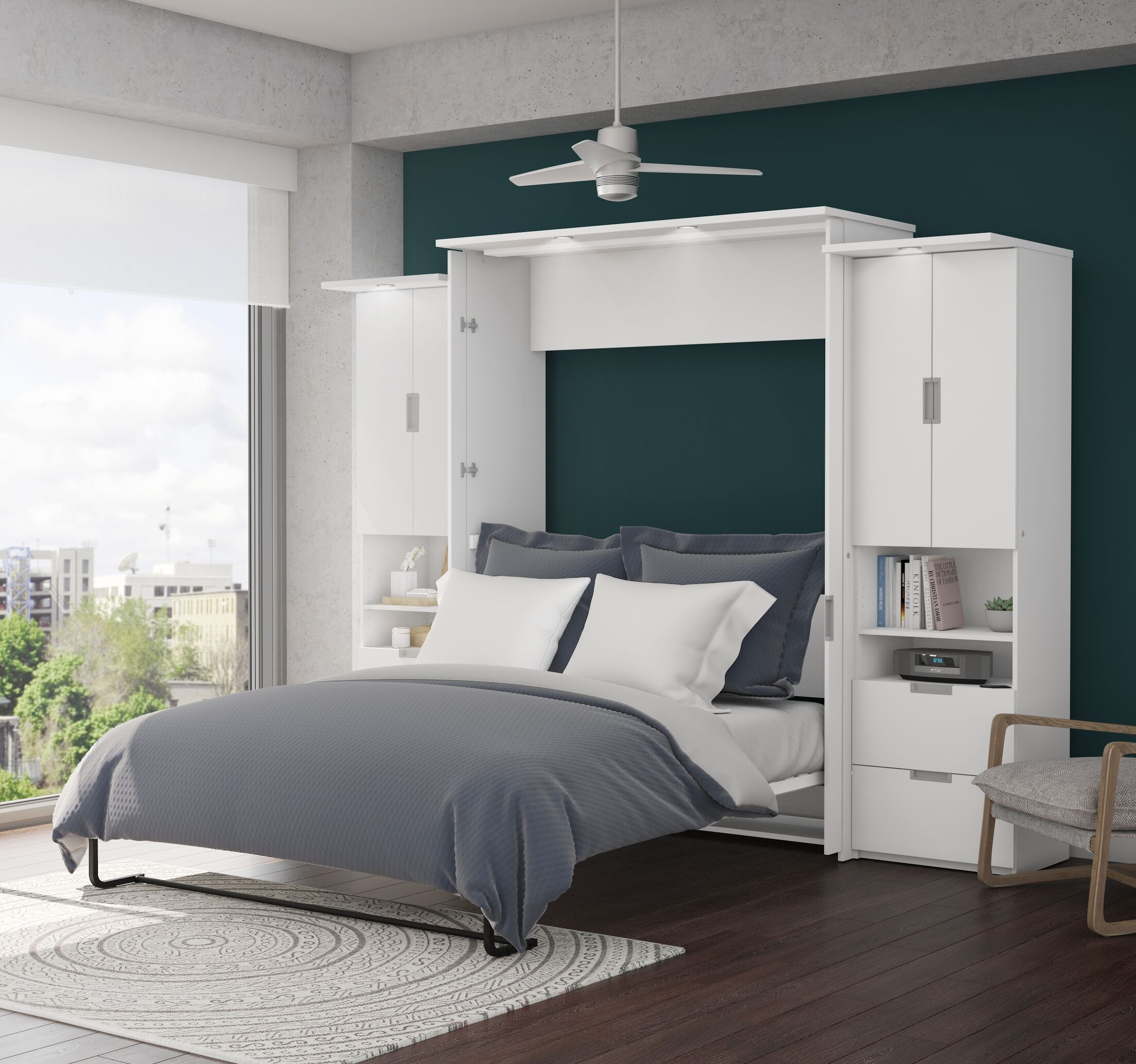 Juniper Murphy Bed and 2 Storage Units Size: Queen