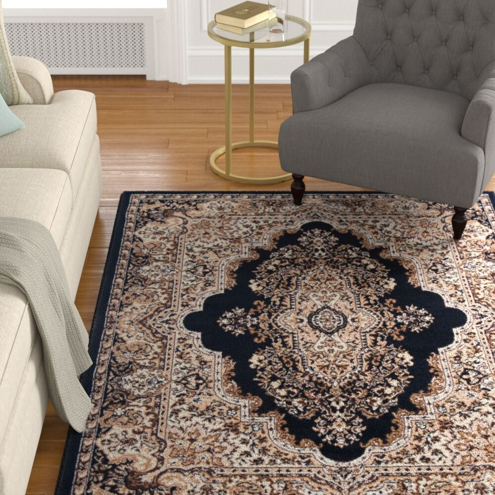 Porcher Black Area Rug Rug Size: 7'11
