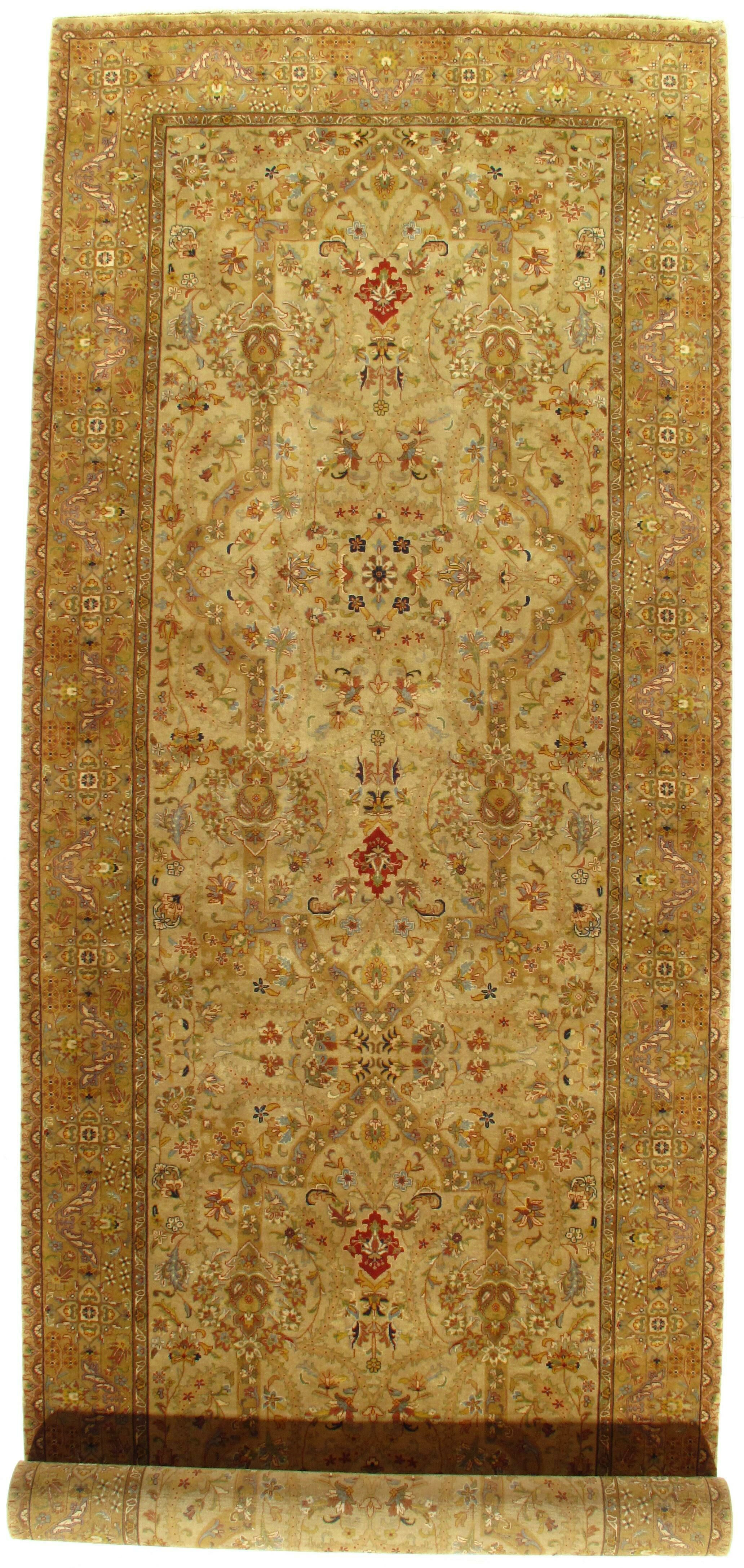 Persian Tabriz Design Hand-Knotted Beige/Red Area Rug