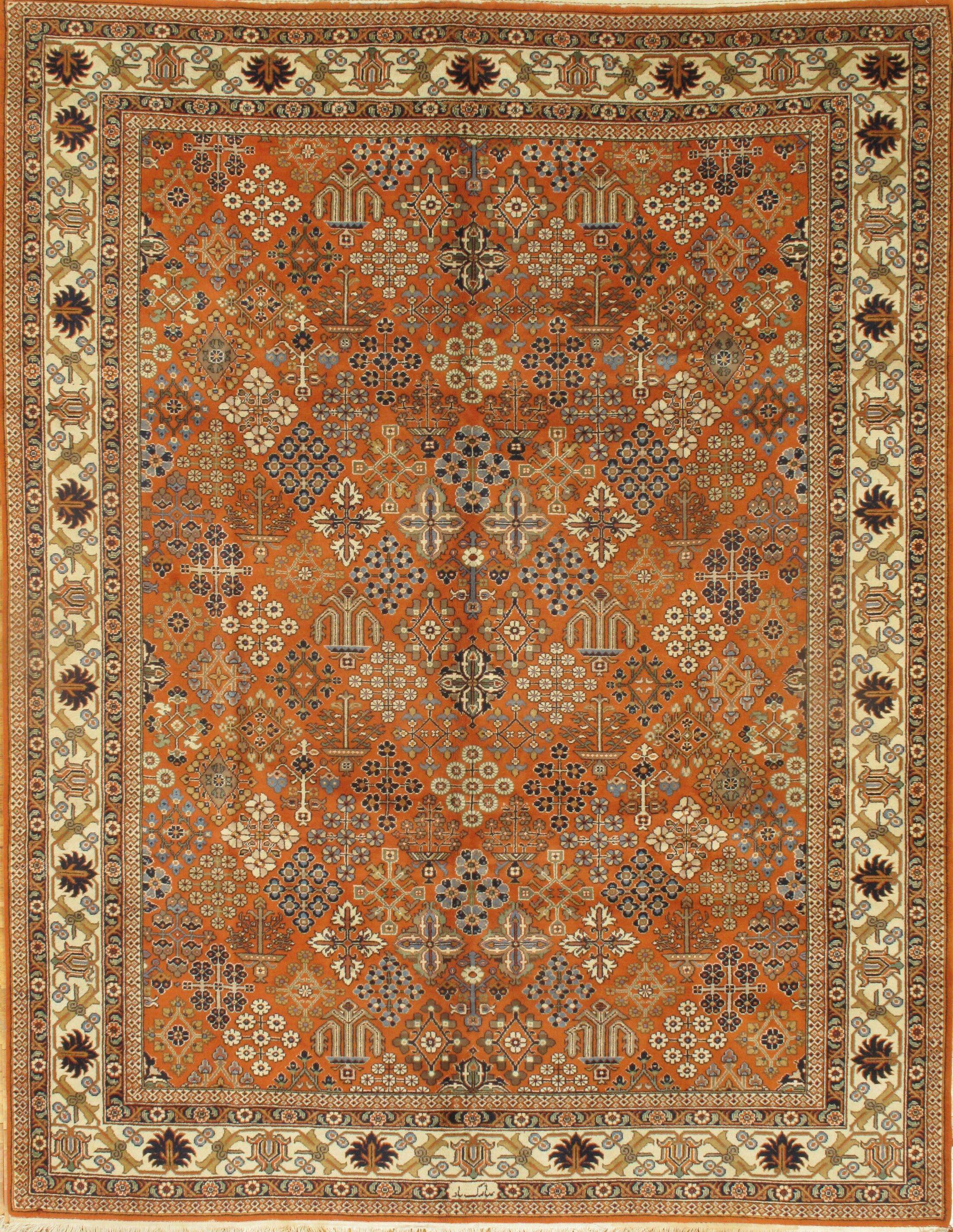 Original Romanian Josheghan Hand-Knotted Wool Orange/Beige Area Rug