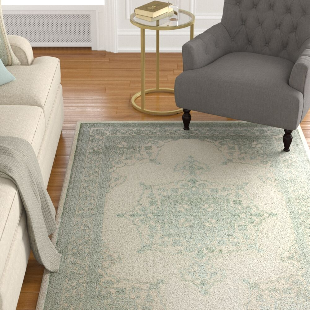 Wesner Machine Woven Synthetic Green/Ivory Indoor Area Rug Rug Size: Rectangle 5' x 8'