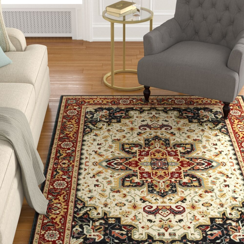 Knighten Medallion Red/Ivory Area Rug Rug Size: Rectangle 7'10