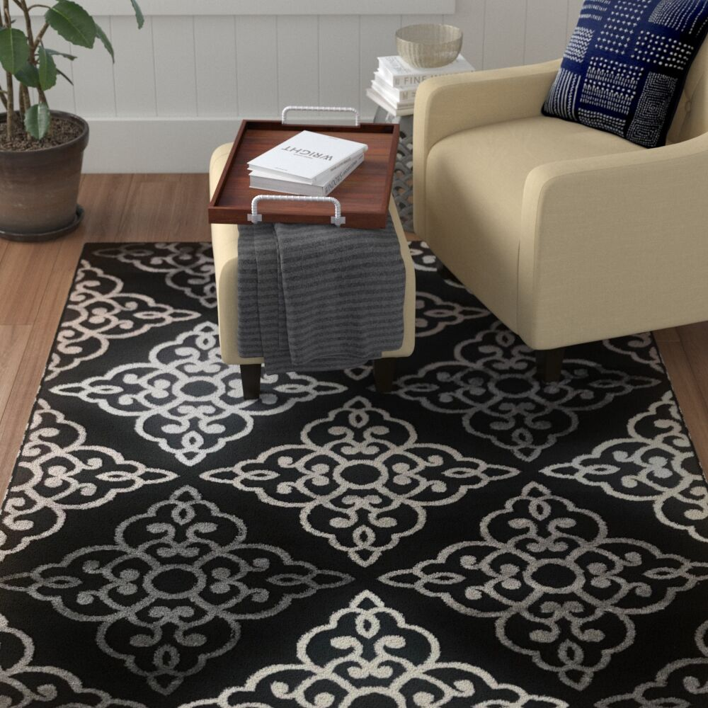 Ontonagon Trellis Black/Beige Area Rug Rug Size: Rectangle 8' x 10'
