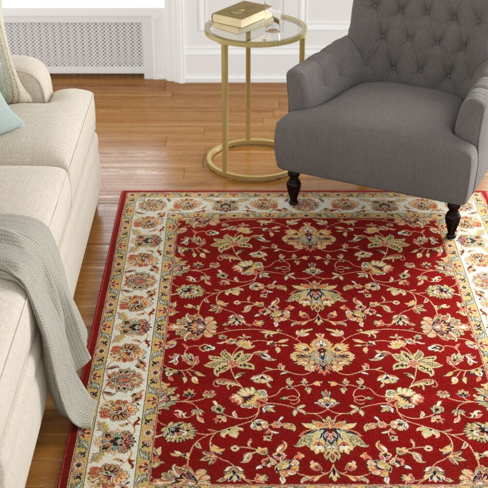 Knighten  Red/Ivory Area Rug Rug Size: Rectangle 6'7