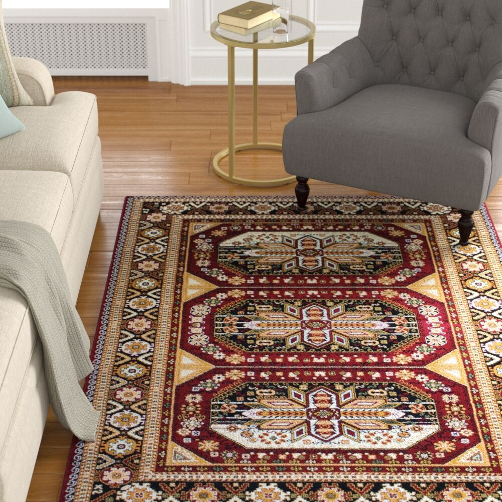Anora Gabbeh Wool Red Area Rug Rug Size: 5' x 7'
