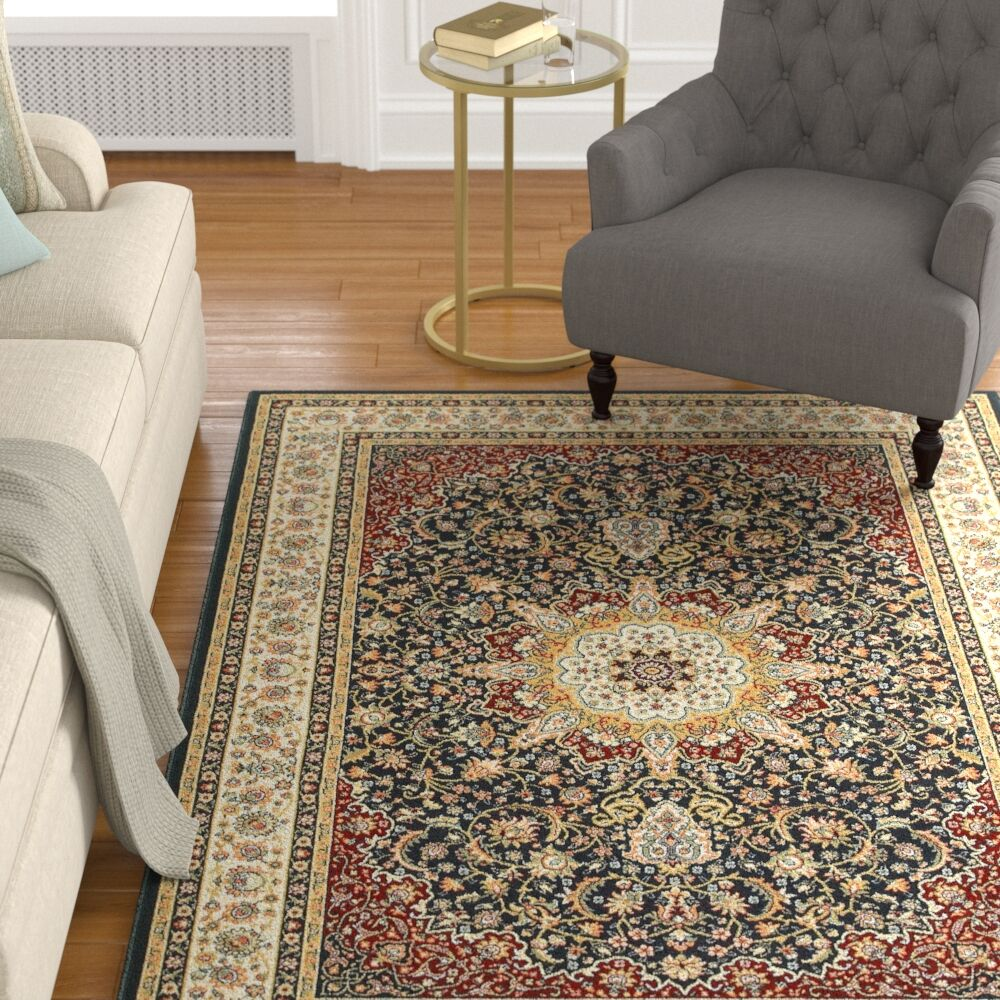 Knighten Classic Medallion Navy/Ivory Area Rug Rug Size: Rectangle 6'7