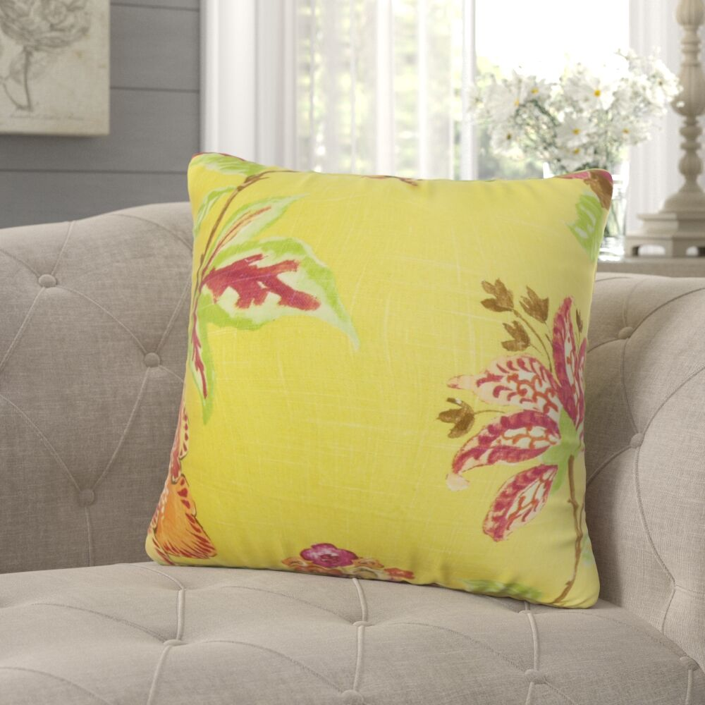 Jeanine Floral Throw Pillow Color: Sunshine, Size: 22