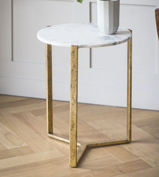 Armory End Table Table Base Color: Gold