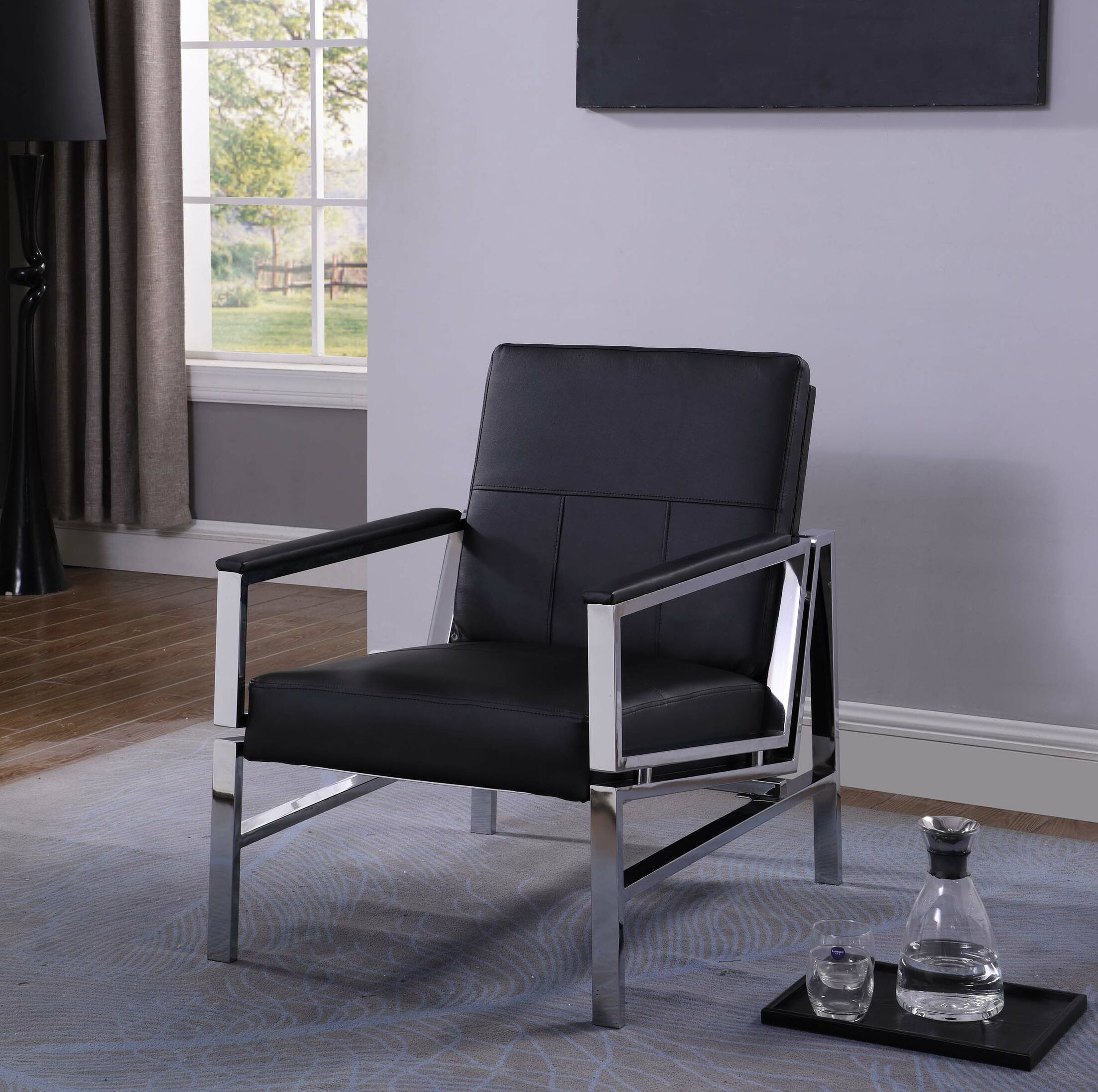 Tingley Modern Stainless Steel Armchair Upholstery: Black