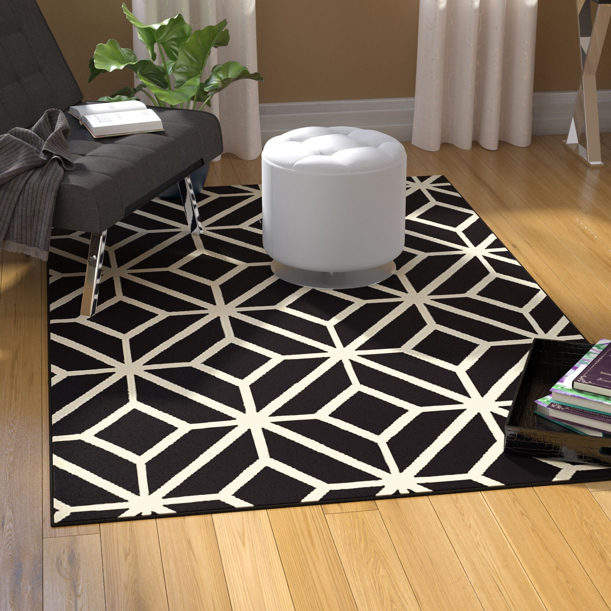 Pleione Black Indoor/Outdoor Area Rug Rug Size: Rectangle 8' x 11'