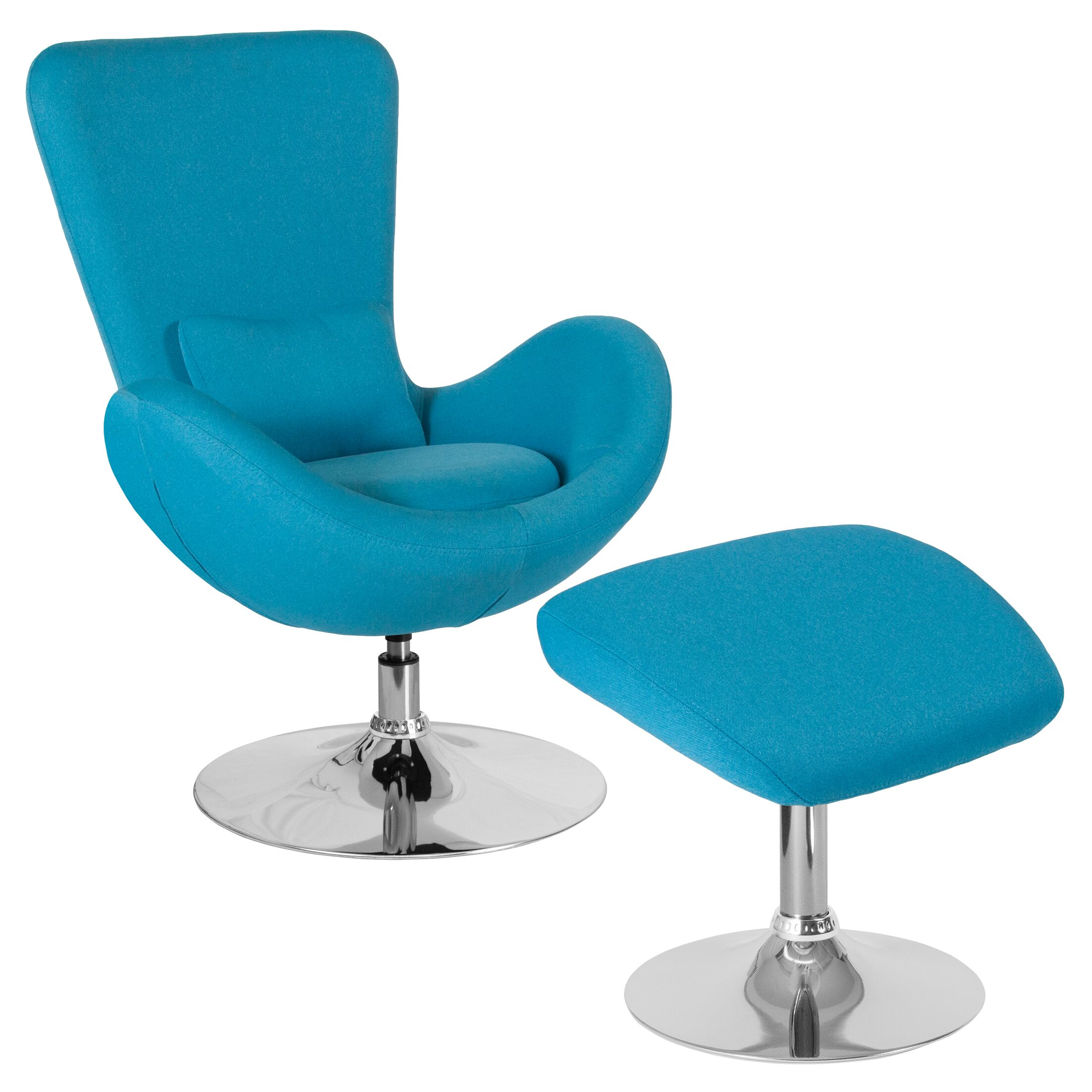 Palisades Guest Chair with Ottoman Seat Color: Aqua