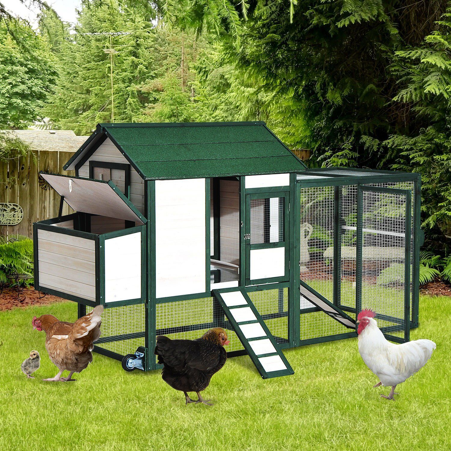 Garlington Portable Wooden Chicken Coop with Wheels Run and Nesting Box