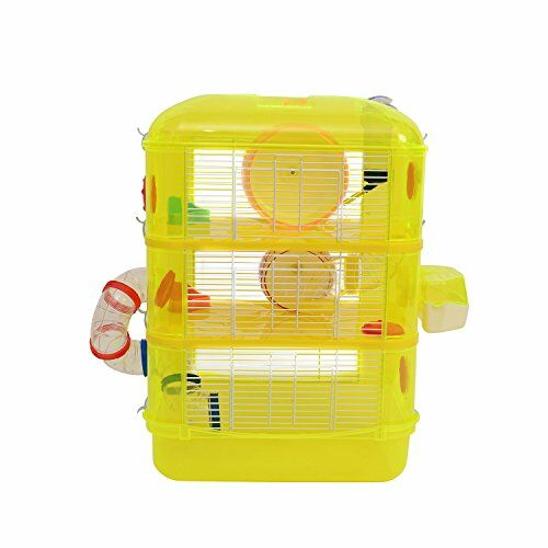 Fresno 3 Story Multi-Level Small Animal Habitat Modular Color: Yellow