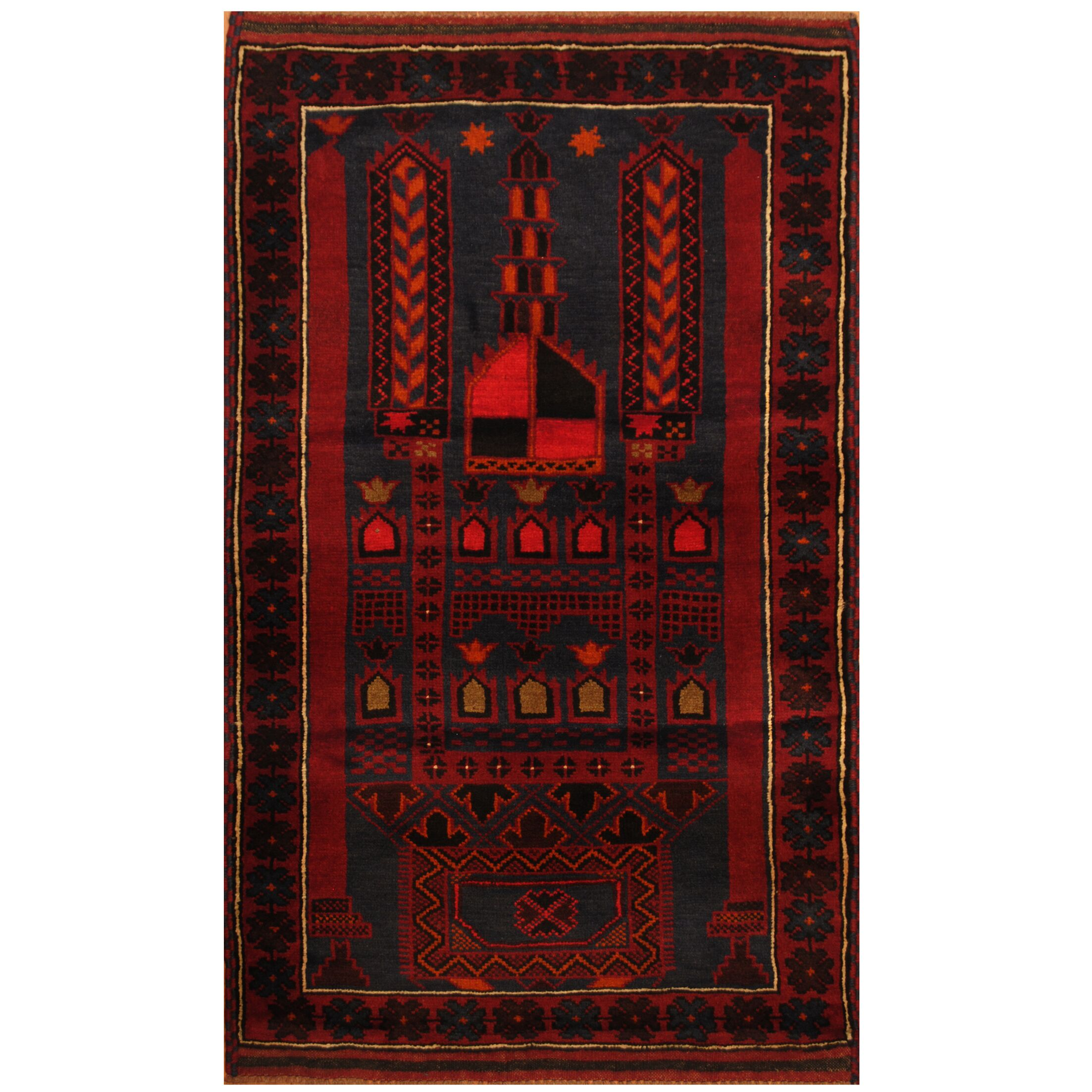 One-of-a-Kind Katharine Hand-Knotted 3' x 5' Wool Navy/Red Area Rug