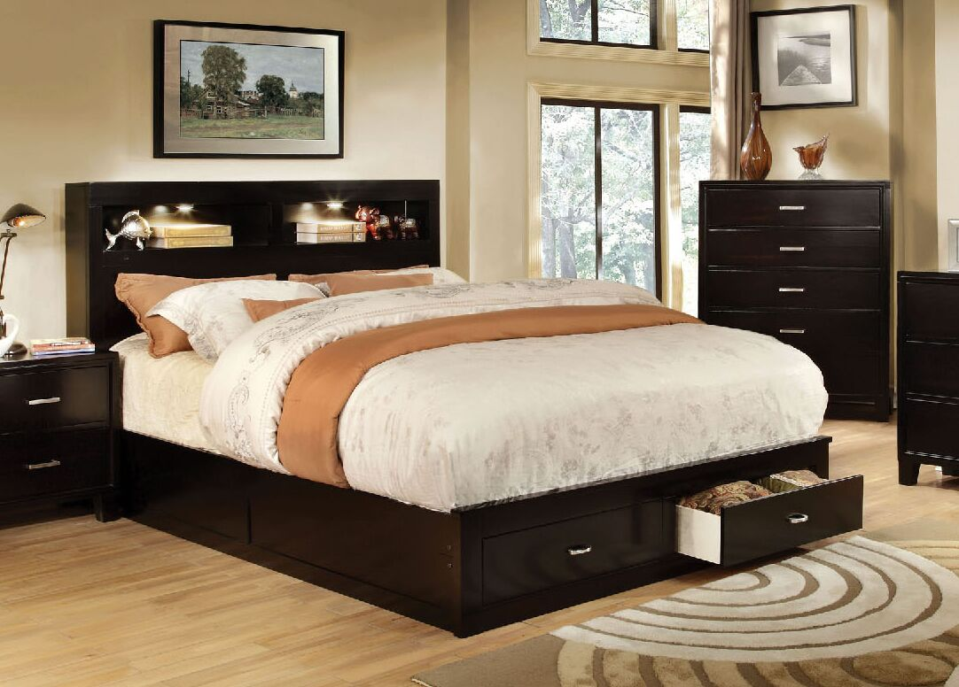 Kenzo Storage Platform Bed Size: Queen, Color: Dark Brown