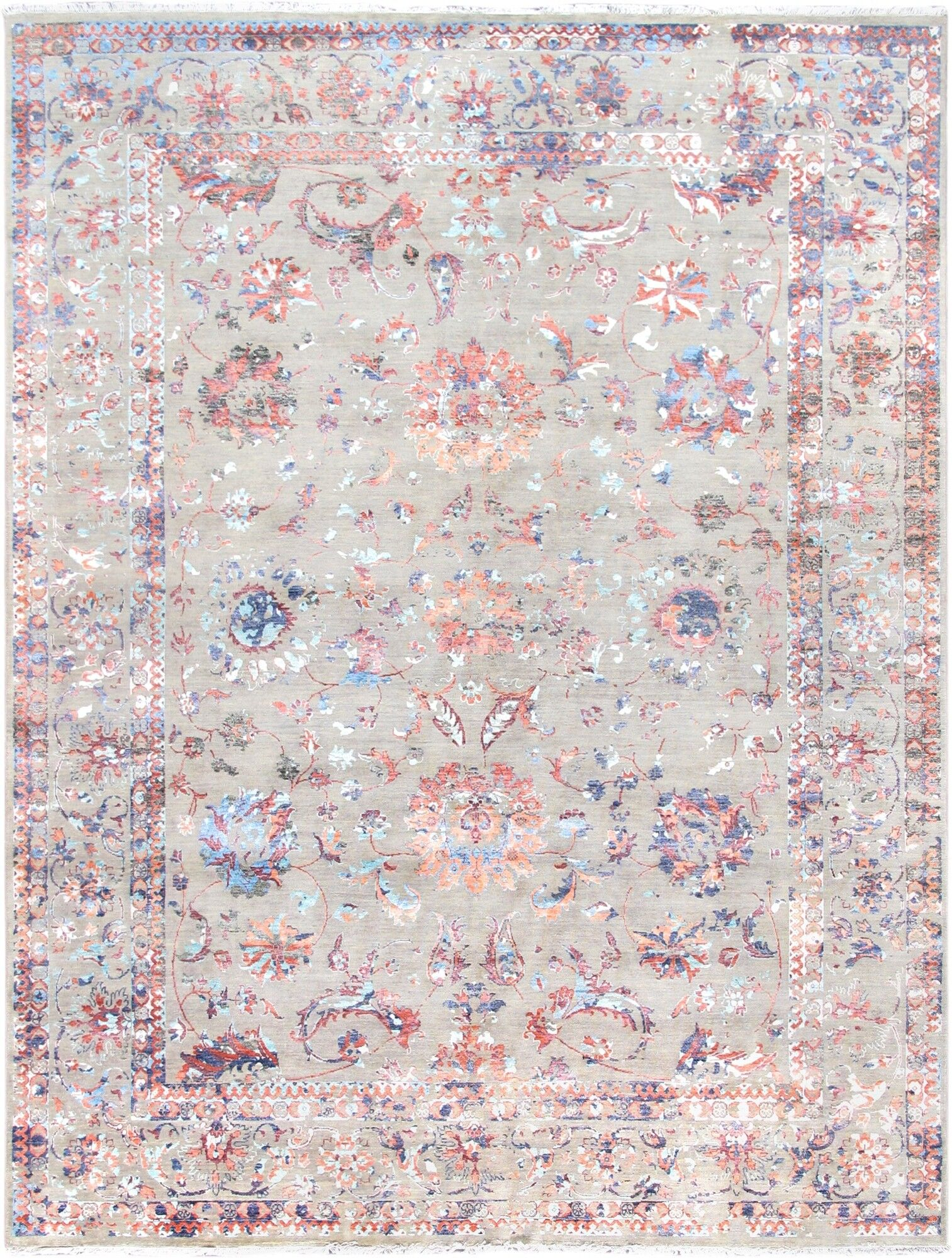 Transitional Hand-Knotted Wool/Silk Gray/Pink Area Rug