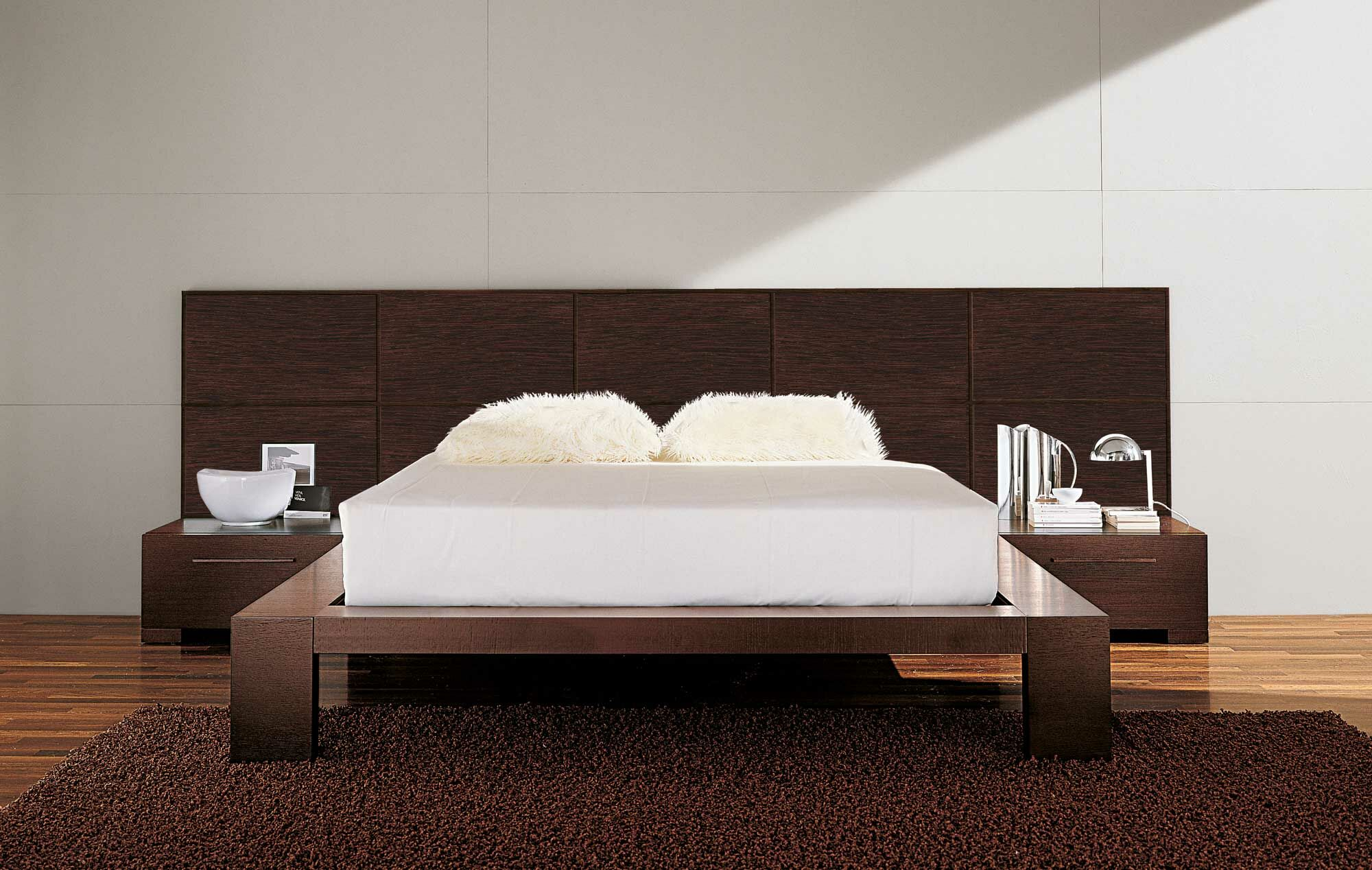 Yoko Platform 2 Piece Bedroom Set Bed Size: California King, Color: White/Brown