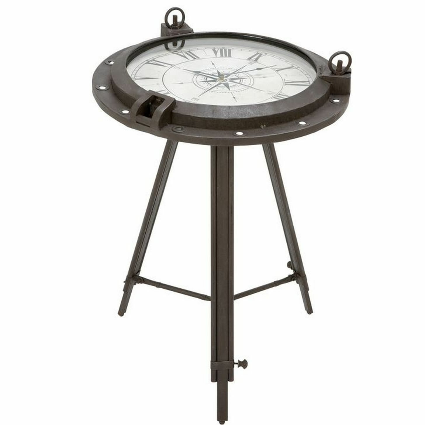 Colleen Industrial Metal Round Clock Coffee Table
