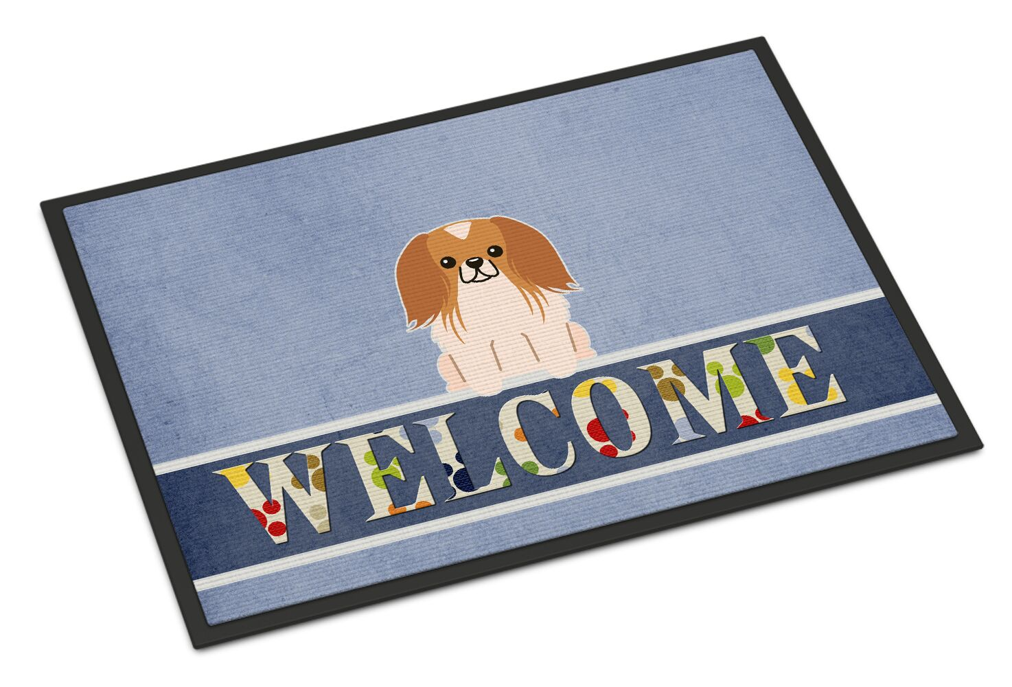Pekingnese Tan Welcome Doormat Color: Red/White