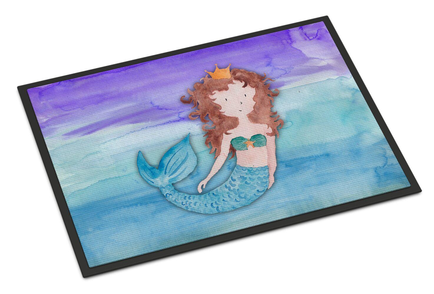 Brunette Mermaid Watercolor Doormat